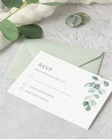 Eucalyptus Wedding RSVP Card Template Printable Greenery