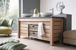 Meuble de salle de bains sur pieds zen en bois massif for Meuble salle de bain la garde