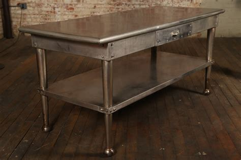 vintage stainless steel kitchen table  stdibs