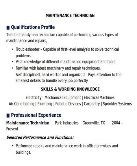 sample maintenance technician resume  examples  word