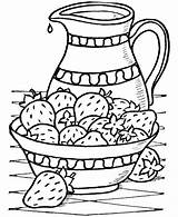 Coloring Pages Strawberry Strawberries Bowl sketch template