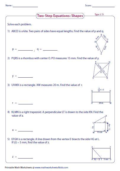 step equation worksheets