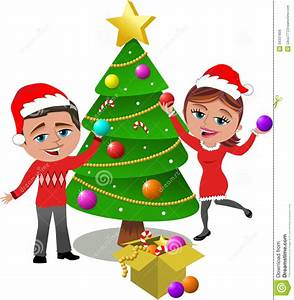 Kids Decorating Christmas Tree Clipart - ClipartXtras