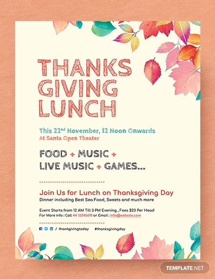 printable thanksgiving party flyer template word