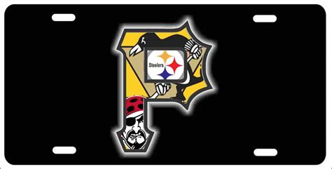 Pittsburgh P With Steelers, Penguins And Pirates Logos