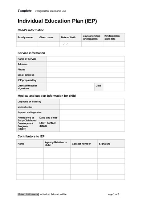 iep template 2018 individual education plan fillable printable pdf forms handypdf