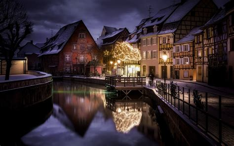 landscape nature city canal house winter snow