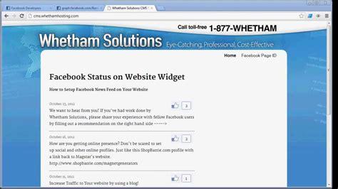 Facebook Status On Website Widget -- How To Setup Facebook