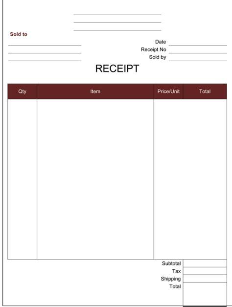 cash receipt templates  printable word excel