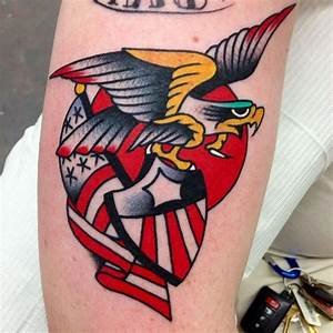 Traditional American Eagle Flag And Shield Tattoos ...