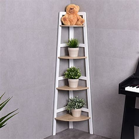 costway  tier wooden corner rack ladder shelf storage
