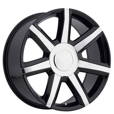 cadillac escalade luxury wheels black  chrome inserts oem replica rims oem