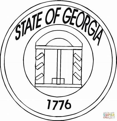 Georgia Coloring State Pages Bird Printable Drawing