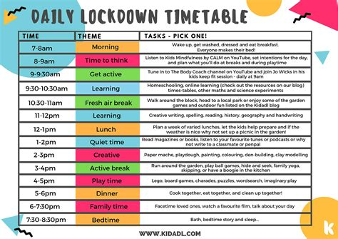 Daily Lockdown Timetable by Kidadl