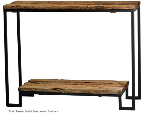 long console table black iron frame reclaimed  wood industrial rustic ebay