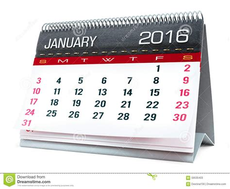calendrier de bureau photo janvier 2016 calendrier de bureau illustration stock