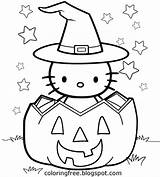 Halloween Coloring Drawing Kitty Hello Printable Pumpkin Colouring Adults Simple Children Drawings Sheets October Fall Minion Getdrawings Clipart Trick Treat sketch template