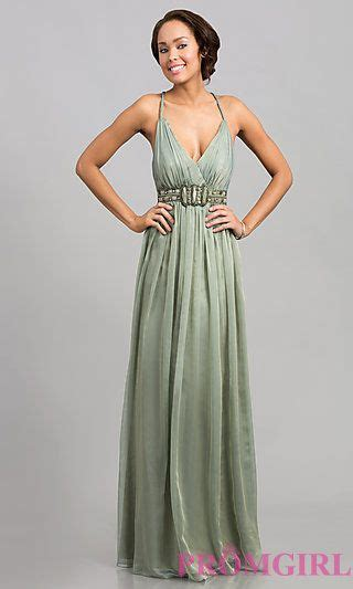 Sleeveless V-Neck Prom Dress with Open Back at PromGirl ...