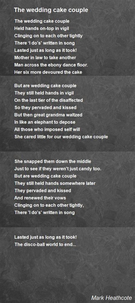 wedding cake couple poem  mark heathcote poem hunter
