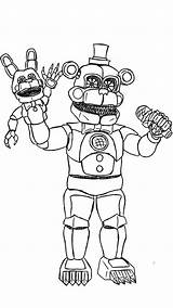 Freddy Coloring Pages Golden Five Night Printable Fnaf Getcolorings sketch template