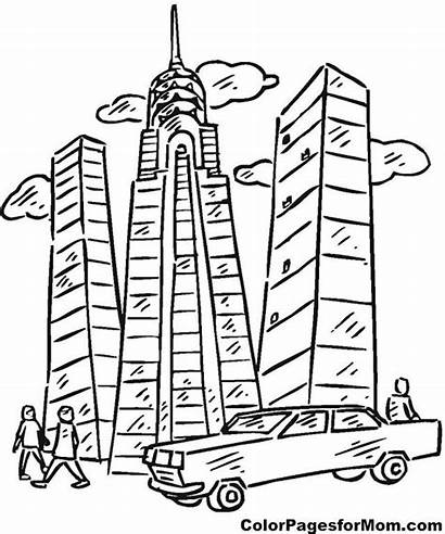 Coloring Building Buildings Skyscraper Apartment Pages Sheets