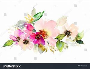 Flowers Watercolor Illustration  Manual Composition