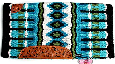 34x36 Horse Wool Western Show Trail Saddle Blanket Rodeo Pad Turquoise 36331c