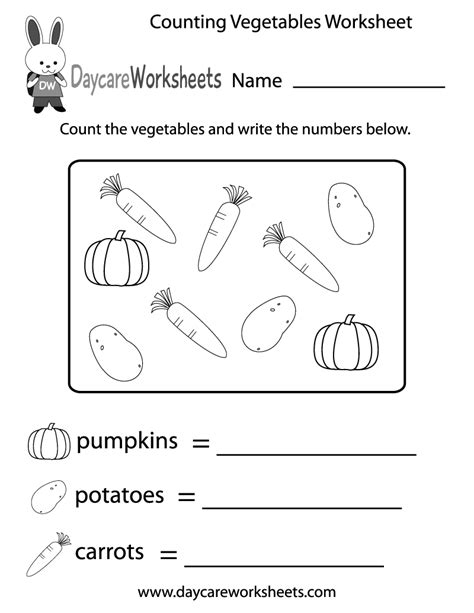 counting vegetables worksheet  preschool