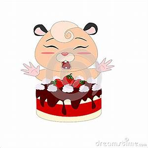 Cartoon Hamster With Strawberry Cake Stock Photo - Image ...