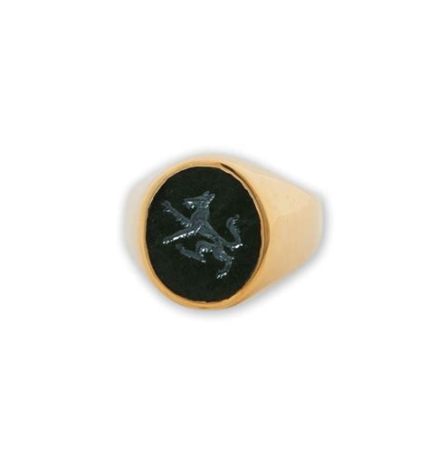 wolf ring engraved black onyx regnas jewelry