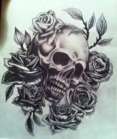 Skull and Rose Tattoo Drawings
