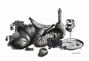 Pen And Ink Drawing Of Still Life In Black And White ...