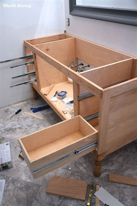 make bathroom vanity from kitchen cabinets build a diy bathroom vanity part 4 the drawers 9722