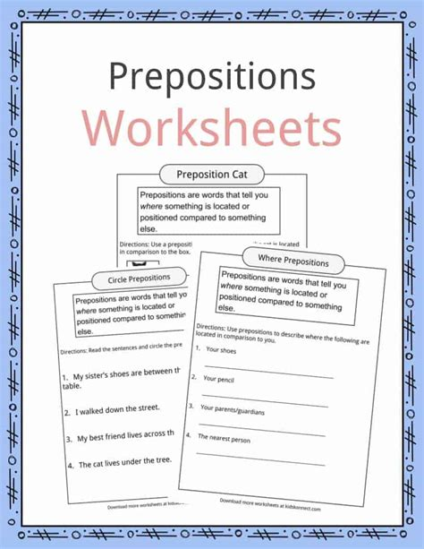 prepositions definition worksheets exles in text for