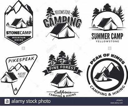 Camping Vector Adventure Outdoor Logos Tent Emblems