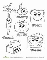 Food Healthy Coloring Preschool Pages Crafts Worksheet Foods Worksheets Education Kindergarten English Body sketch template