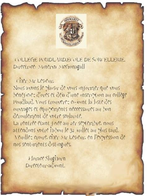 hogwart letterlettre poudlard fan dharry potter