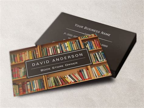 sided business card template publisher bookstore book store owner bookshelf sided