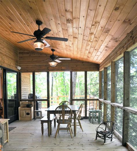 ceiling fan for screened porch rustic ceiling fans porch traditional with fan dining bench