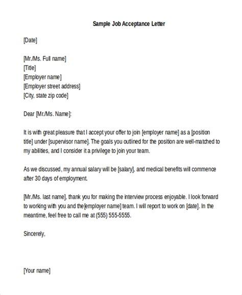 sample job acceptance letters
