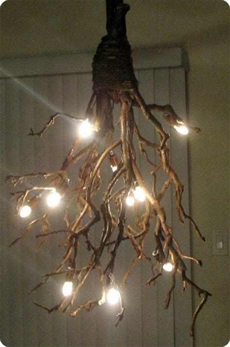 branch light fixtures on branch chandelier