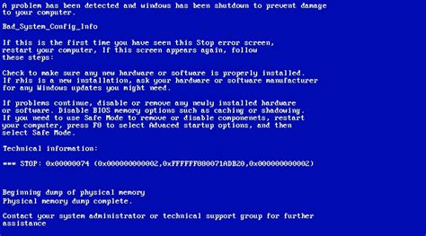 easy fix bad system config info 0x00000074