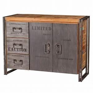 Buffet Bas Industriel : buffet en bois 2 portes 3 tiroirs industry achat vente buffet bahut buffet en bois 2 ~ Teatrodelosmanantiales.com Idées de Décoration
