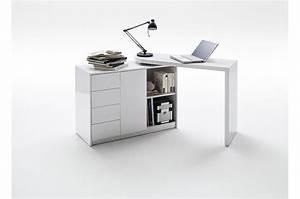 Bureau Pas Cher Blanc : bureau design blanc laqu plateau pivotant cbc meubles ~ Teatrodelosmanantiales.com Idées de Décoration