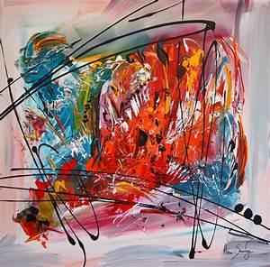 Tableau Contemporain Grand Format : tableau moderne multicolore abstrait ~ Teatrodelosmanantiales.com Idées de Décoration