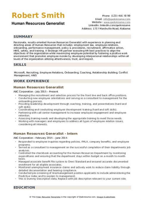 human resources generalist resume sles qwikresume