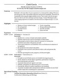 writing a resume for bartending 10 create a great bartender resume writing resume sle