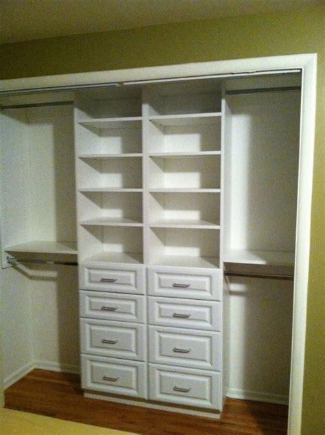 compact white small closet design  drawer  shelving