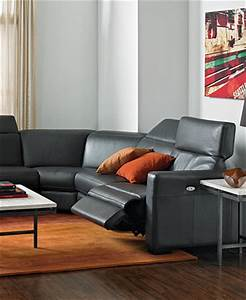 Nicolo leather sectional living room furniture sets for Macy s reclining sectional sofa