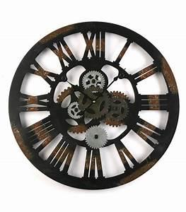 Horloge En Metal : horloge murale ronde style industriel en m tal noir vieilli wadiga ~ Teatrodelosmanantiales.com Idées de Décoration